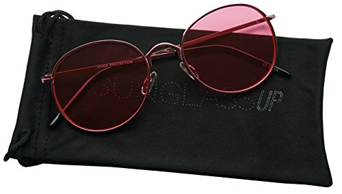 SunglassUP - Colorful Classic Vintage Round Flat Lens Lennon Style Sunglasses (Pink, - Colored Sunglasses Pink