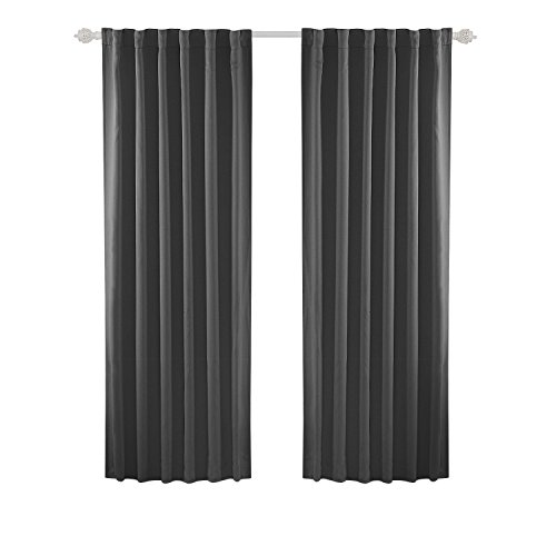 Thermal Back Tab Panel - Deconovo Room Darkening Rod Pocket and Back Tab Curtains Thermal Insulated Blackout Curtains for Bedroom 52x84 Inch Dark Grey Set of 2