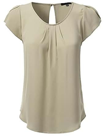 JJ Perfection Women's Woven Petal Short Sleeve Blouse Sand S