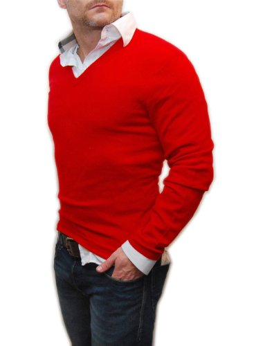 Polo Ralph Lauren Mens Cashmere V-Neck Pullover Knit Sweater Italian Red Large (Italian Cashmere Sweater compare prices)
