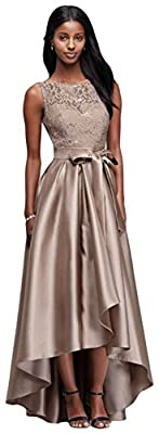 David's Bridal Sequin Lace Mother Of Bride/Groom Dress With Mikado Skirt Style 3552DB