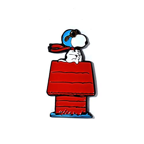 Cute Snoopy Pilot Pin Flying Red Dog House Pendant Lapel Hat Pin