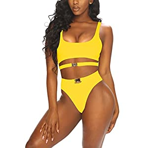 LaSuiveur Women's Sexy Wire Free Strappy Push Up Lined Two Piece Bikini Swimsuit
