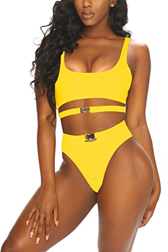 CHICE IRIS Adults Scoop Neck Cut Out High Waisted Tank Bikini Swimsuit Yellow L (High Waisted Buckle)