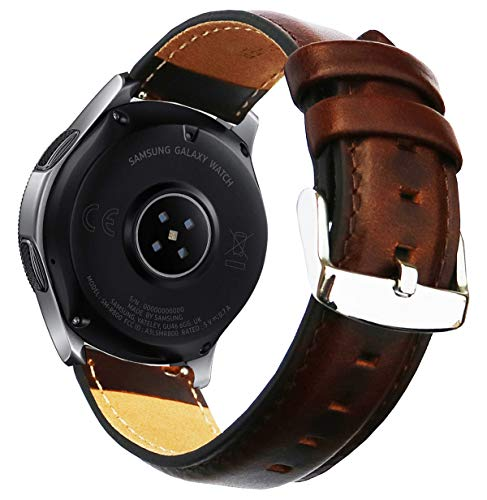OTOPO for Galaxy Watch 46mm Band /Ticwatch Pro Band, 22mm Quick Release Genuine Leather Replacement strap with Stainless Steel Buckle for Samsung Gear S3 Classic/Frontier Smartwatch- Brown (Fossil Q Wander Vs Samsung Gear S2)