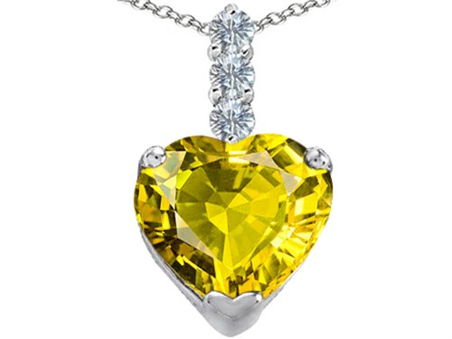 (Star K Large 12mm Heart Shape Simulated Peridot and Cubic Zirconia Pendant Necklace Sterling Silver)
