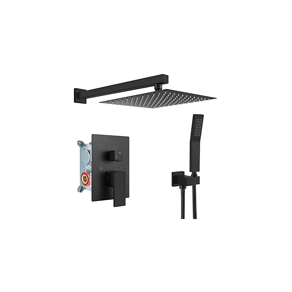gotonovo Rain Shower System Matte Black Square 12 Inch Shower Head with Hand Held Shower Rough in Valve Rainfall Shower…