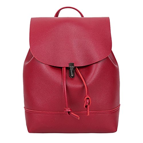 Bag Pure School Backpack Vintage Color AmyDong Red Shoulder Satchel Leather Bag Women Trave wRHrqRxPt