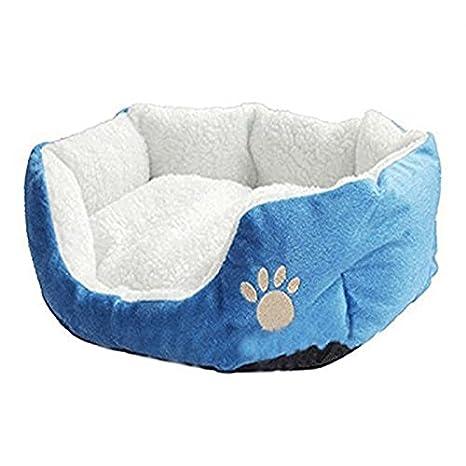 Cdet Cama para Mascotas Redonda o de Forma Oval dimple Fleece Nesting Perro Cueva para Gatos y Perros pequeños,45 cm*35 cm*15cm,Azul