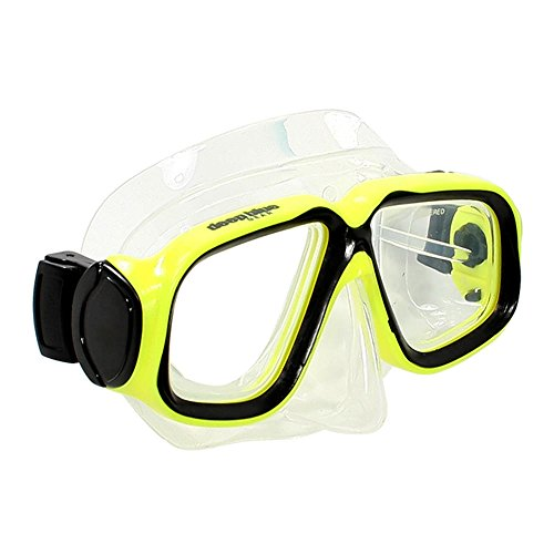 Deep Blue Gear Kids Diving Snorkeling Mask with Optical Corrective Lenses, Yellow, -4.0 Right and Left