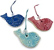 B JANECKA Handcrafted Bird Ornaments, Set of 3, Artisan Crafted in USA, Pottery 9th Anniversary Gift