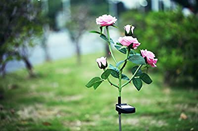 XLUX Outdoor Solar Powered Rose Lights Flower Stake, for Garden Patio Yard Christmas Pathway Decoration