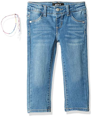 (DKNY Girls' Big Hi Ankle Rolled to Capri Jamie Jeggings, Blue Jay, 14)