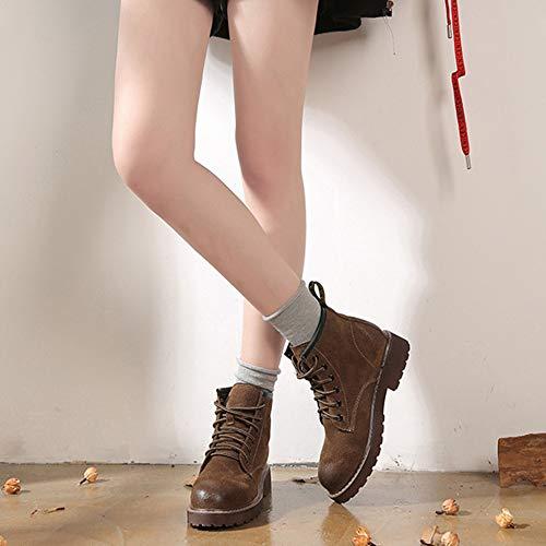 Femmes r Automne Brown Daim Chaussures Hiver Martin Bottes Du Désert En Appartements Randonnée Yr À Lacets Mesdames Haut Camping Pédestre Vintage Bottines EwSdw8