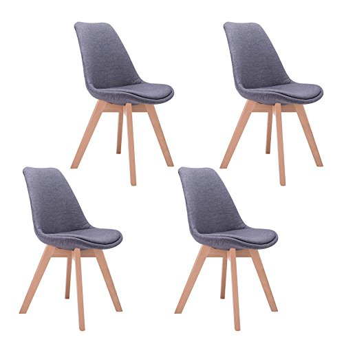 CO-Z Mid Century Modern Dining Chairs, Modern Eames DSW Eiffel Side Chair for Kitchen (Sets of 4, Gray) by CO-Z