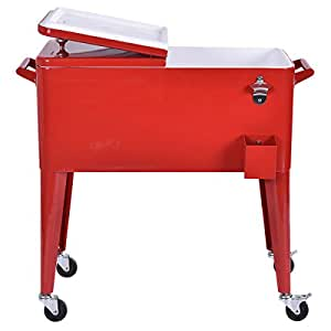 Outdoor Patio 80 Quart Cooler Cart Ice Beer Beverage Chest Party Portable Red