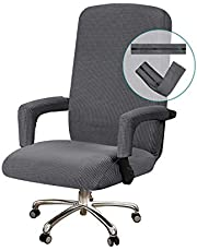 Office Chair Cover Stretch Computer Chair Slipcovers for Universal Rotating Boss Chair Cover with Armrest Chair Cover Machine Washable with Jacquard Fabric Super Soft, Medium, Gray