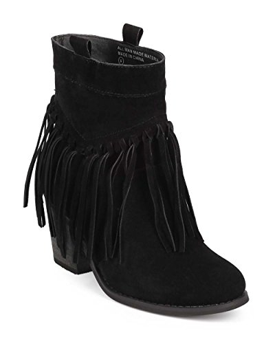 bumper-dd60-women-suede-almond-toe-knotted-fringe-pull-on-ankle-bootie-black