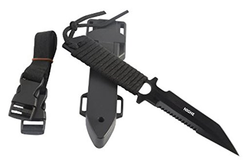 Dive Knife - Tactical,Hunting,Survival Black Scuba Diving Sharp Blade Knives with Line (Black Edge Legs)