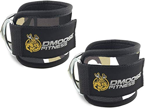 (DMoose Fitness Ankle Straps for Cable Machines (Pair) - Stainless Steel Double D-Ring, Adjustable Comfort fit Neoprene, Glute & Leg Workouts - for Women & Men)