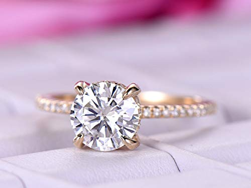 Round Moissanite Engagement Ring Pave Moissanite Under Halo 14K Yellow Gold 7mm ()