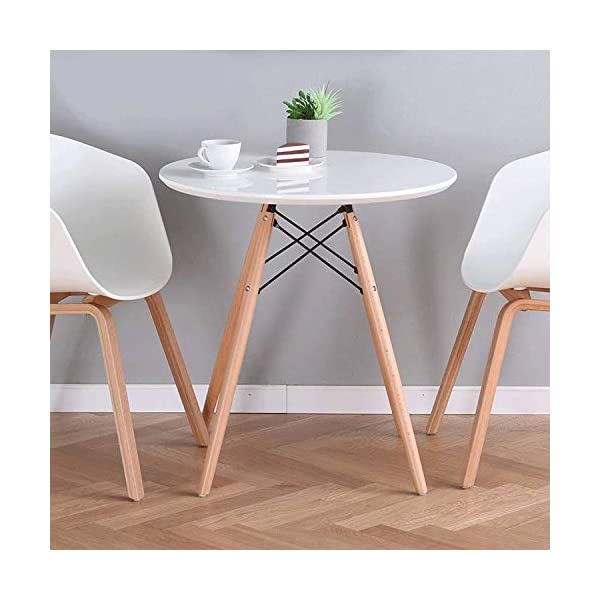 Round White Dining Kitchen Table Modern Leisure Table with Wooden Legs for Office & Conference 2 to 4 People