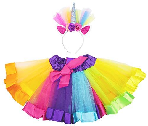 Bienvenu Girls Rainbow Tutu Skirt with Unicorn Horn Headband Outfits for Birthday,Rainbow,L(waist 20.5