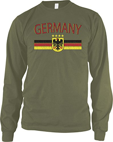 Amdesco Men's Germany Flag and German Eagle Crest Long Sleeve Shirt, Moss Green 3XL