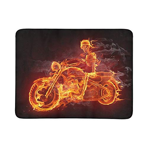 JXCSGBD Fire Skeleton Riding Motorcycle Portable and Foldable Blanket Mat 60x78 Inch Handy Mat for Camping Picnic Beach Indoor Outdoor Travel -
