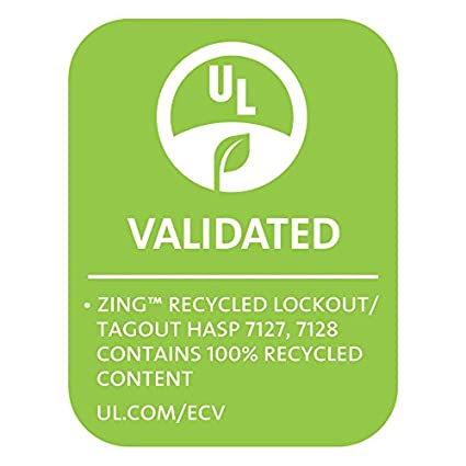 1 Inch Recycled Aluminum 1 Inside Jaw Diameter Red Zing Green Products 7127 RecycLockout Lockout Tagout Hasp