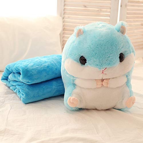 JEWH Squishy Plush Hamster Pillow with Blanket - Stuffed Animals Soft Toys for Children - Girls Birthday Sleeping Bedroom Carpet ( Blue)