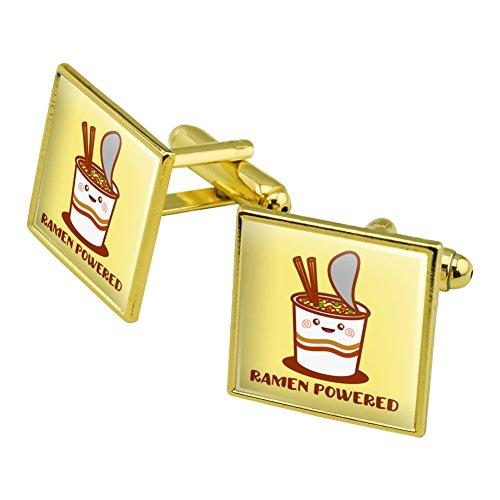 Ramen Powered Noodle Soup Chopsticks Square Cufflink Set Gold Color