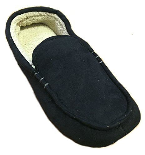Dearfoams Mens Microfiber Suede Moccasin with Decorative Stitch Memory Foam Slippers Black EUwvpXs