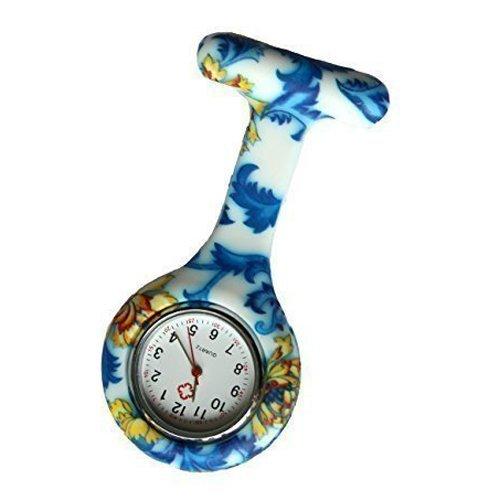 TOOGOO(R) Blue Floral Swirls Silicone Nurse Doctor Paramedic Tunic Brooch Fob Watch Medical Watch