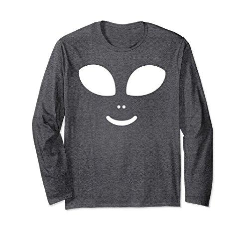 Unisex Alien Face Halloween Costume Long Sleeve Shirt XL: Dark Heather