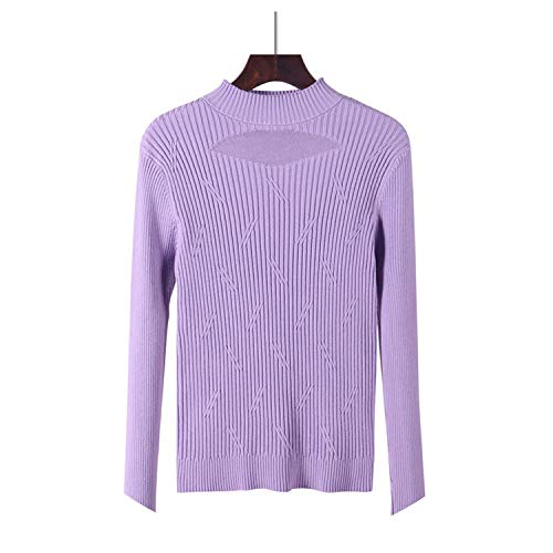 Pullover Basic Sweaters Oneck Knitted Cotton Tops Crew Neck Essential Jumper Soft Jersey,Purple,One Size