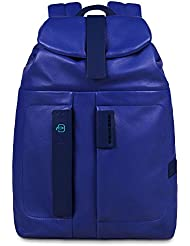 Piquadro Flap Over Backpack with Padded Pocket Bottle Umbrella Holder, Blue, One Size