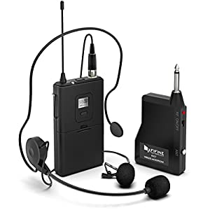 Wireless Microphone System,Fifine Wireless Microphone set with Headset /Lavalier Lapel Mics, Beltpack Transmitter/Receiver,Ideal for Teaching, Preaching and Public Speaking Applications.(K037B)