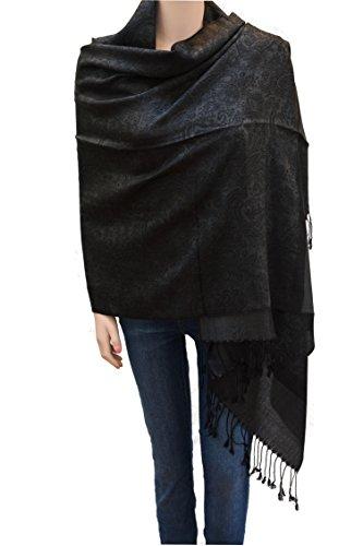 Flyingeagle Trade Jacquard Paisley Pashmina Shawl Scarf Stole for Women (Black/Grey)