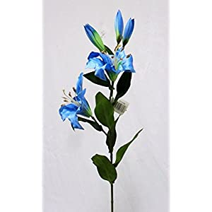 1 Bouquet Artificial Flowers Turquoise Blue Tiger Lily Spray Silk Flowers Wedding Centerpieces Arrangements Artificial Plant Fake Craft Floral Home Decor 28 inches 17