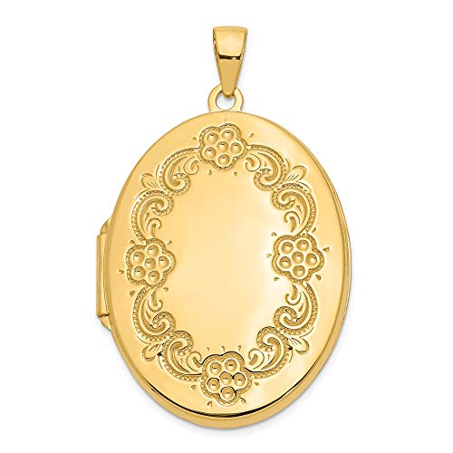 14k Yellow Gold Floral Photo Pendant Charm Locket Chain Necklace That Holds Pictures Oval Fine Jewelry Gifts For Women For -