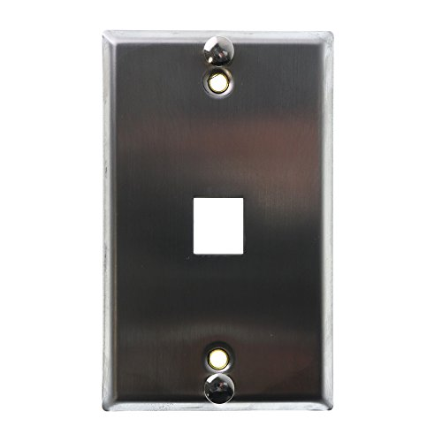 Leviton 4108W-SP QuickPort Telephone Wall Jack, Stainless Steel