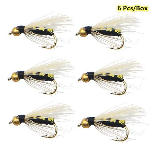 ZZWIF Golden Beadhead Stonefly Nymph Fly Fishing Lures #16 Super Sturdy Hooks Fishing Kit Dry Flies Insect Lures High Simulation Bass Salmon Trout Floating/Sinking 6 Pcs