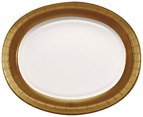 Design Gold Oval (Creative Converting 051682 8 Count Touch of Color Paper Oval Platters, 12