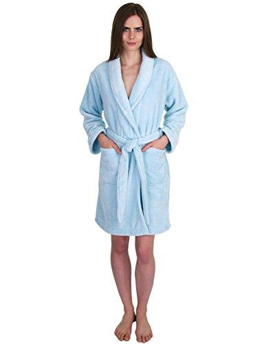 TowelSelections Women's Robe, Plush Fleece Short Spa Bathrobe Large Aquamarine