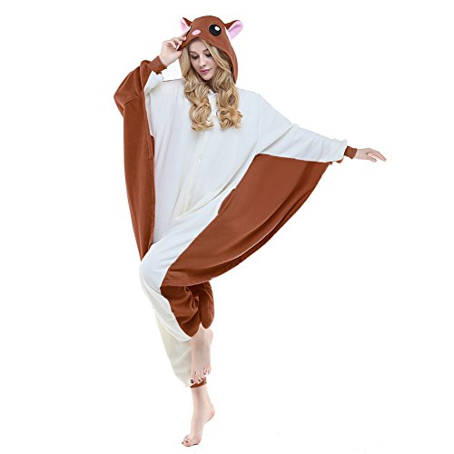 NEWCOSPLAY Flying Squirrel Costume Sleepsuit Adult Pajamas (L, Coffee Flying Squirrel)