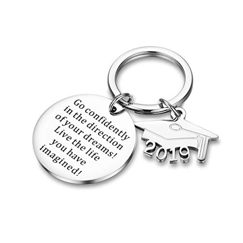 Udobuy Graduation Keychain Go Confidently in The Direction of Your Dreams Live The Life You Have Imagined Keychain Inspirational Gift for Girl,Boys. (Graduation Gift Boys)
