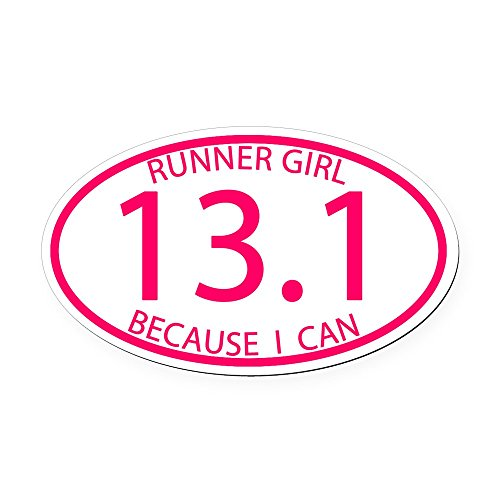 CafePress - 13.1 Runner Girl Because I Can Oval Car Magnet - Oval Car Magnet, Euro Oval Magnetic Bumper ()