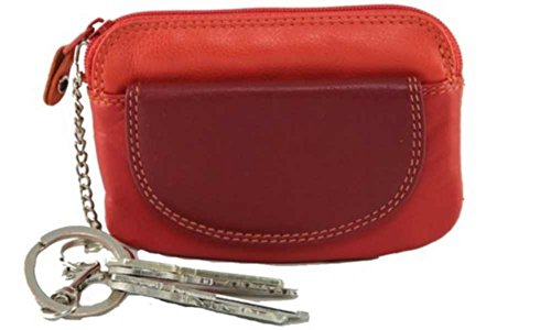 Visconti RB 60 Multi Colored Red/Orange/Crimson Ladies Soft Leather Coin Purse And Key Wallet With Key Chain