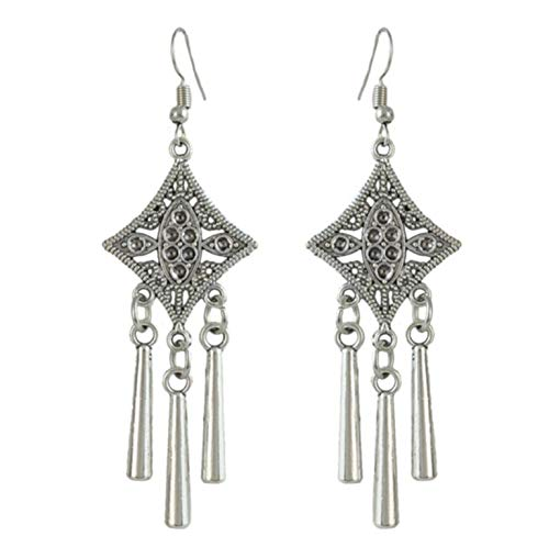 Antique 3 Styles Vintage Silver China Ethnic Hair Sticks Carved Flower Pendant Tassel For Women Unique ()